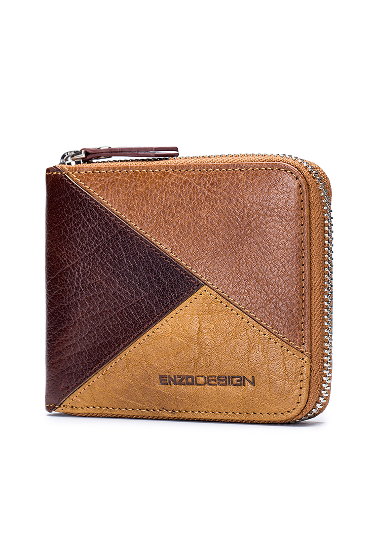 ENZODESIGN Pazuru Buffalo Leather Zip Around Wallet (LWCB20T-B)