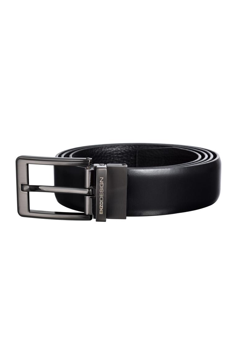 Charcoal Black Rectangular Pin Buckle Saffiano Leather Belt