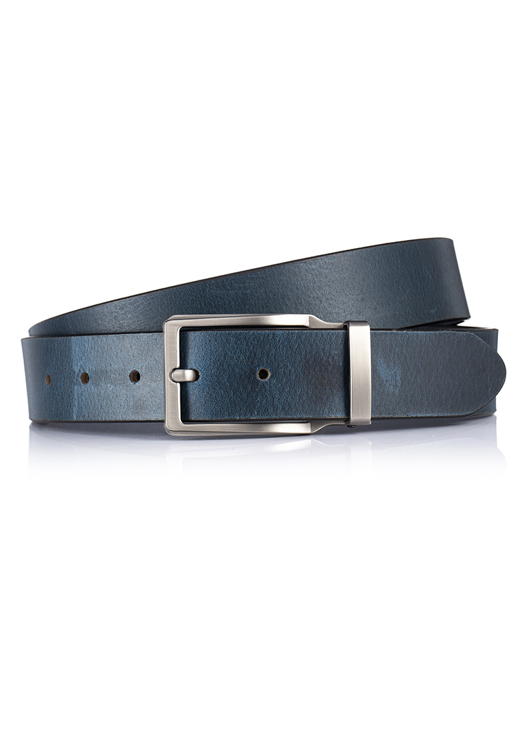 Charcoal Grey Pin Buckle Distressed Buffalo Smart Casual Leather Belt (BT-1914-8117)