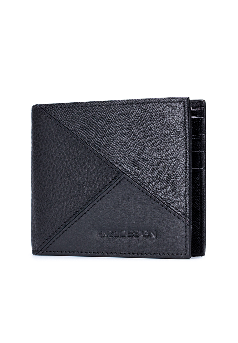 Geometric Crossover Leather Wallet With Center Divider(LWCB20B-E)