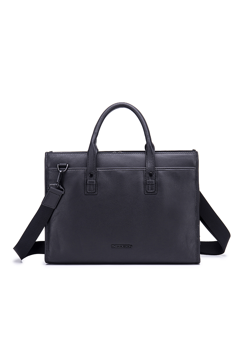 "London Top Gain Cow Nappa Leather 13"" Laptop Top Zip Briefcase (B12002-BLK)"