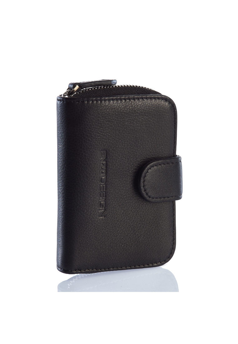 Soft Cow Leather Hand Held Key Case With Zip Around Card Holder R-BLK