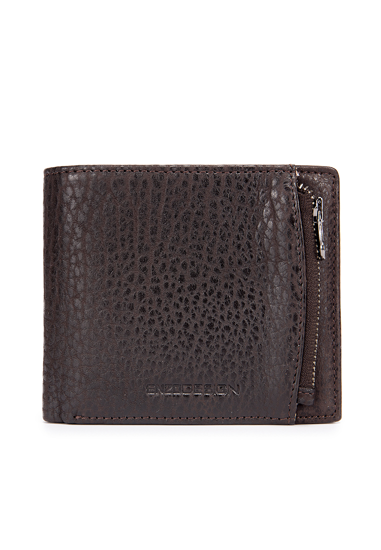 Authentic American Bison Leather Billfold Wallet With Exterior Zip Pocket ( Limited Edition)