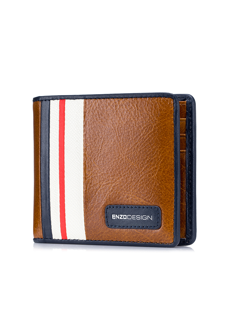 Modern Stripe 14 Card Slots Leather Bi-fold Wallet (LWC20TW-E)