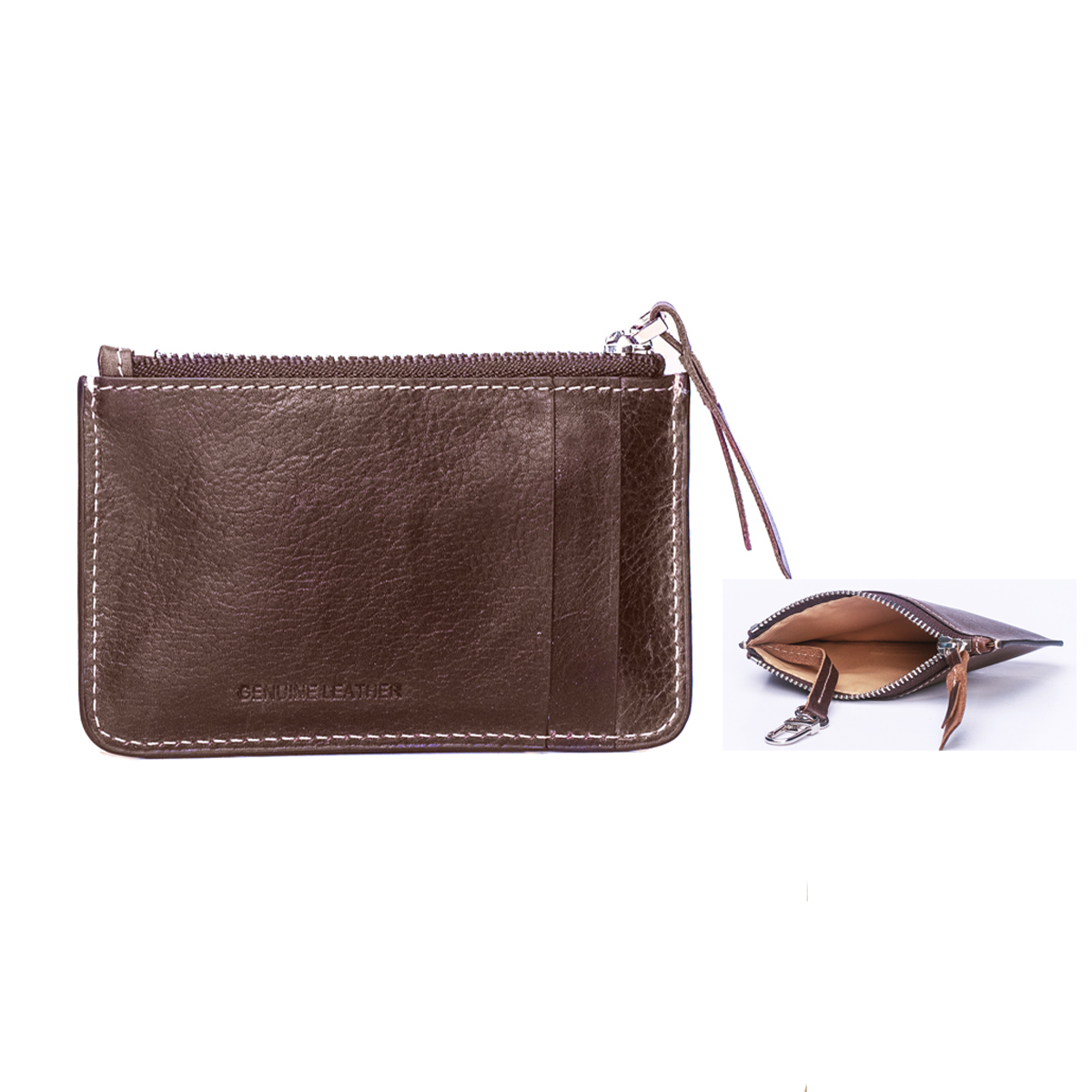 Vintage Leather Card Holder Zip Pouch With Key Ring Attachment