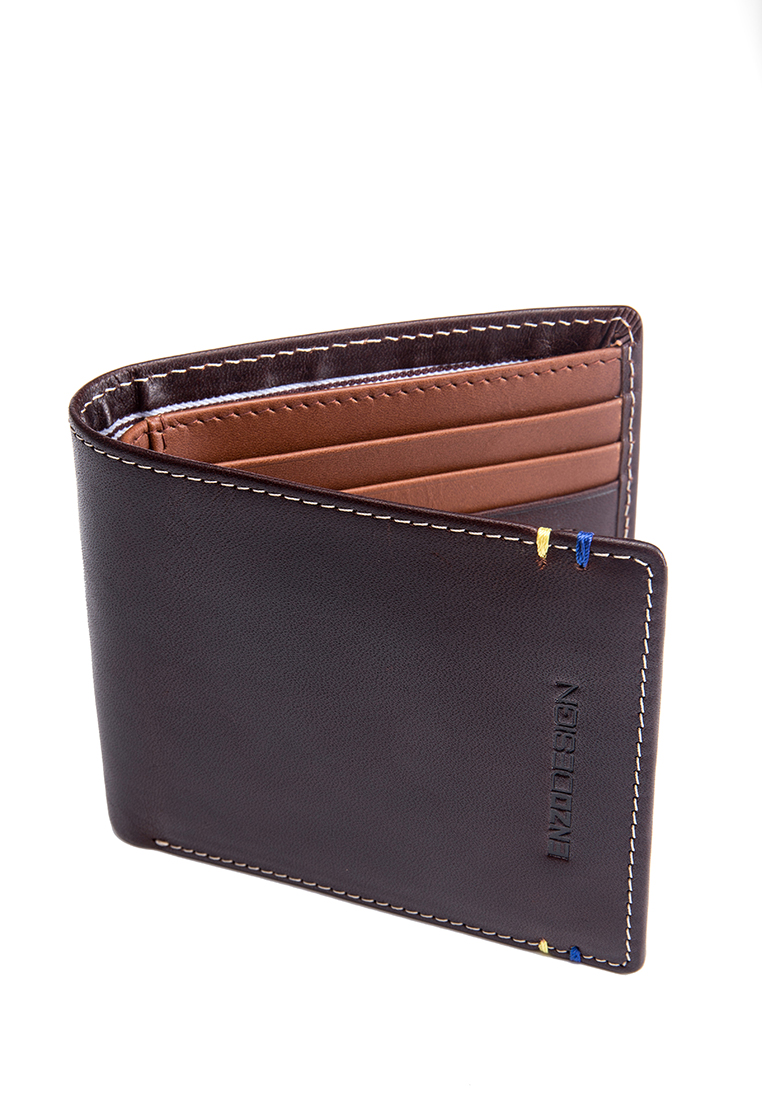 Two Tone 14 Card Slots Italian Leather Bi-fold Wallet