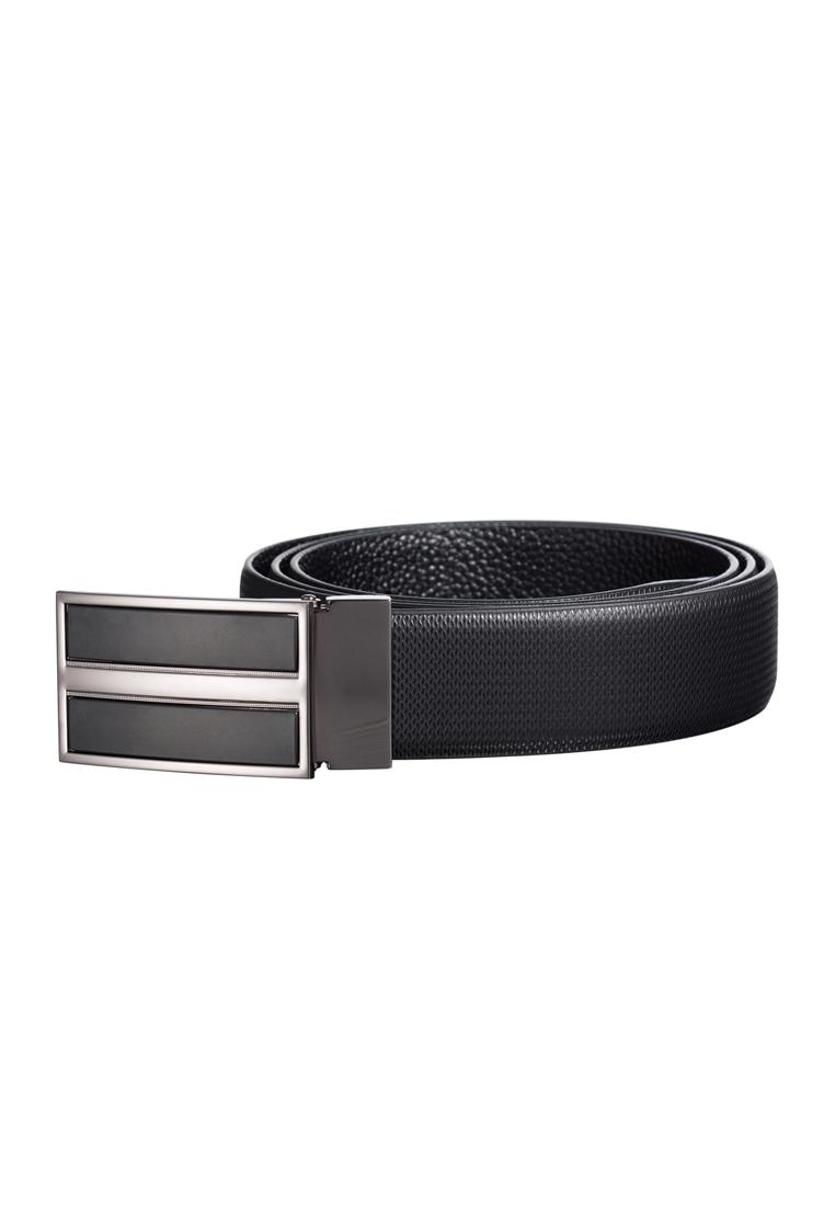 Deluxe Plaque Buckle Dotted Debossed Leather Belt